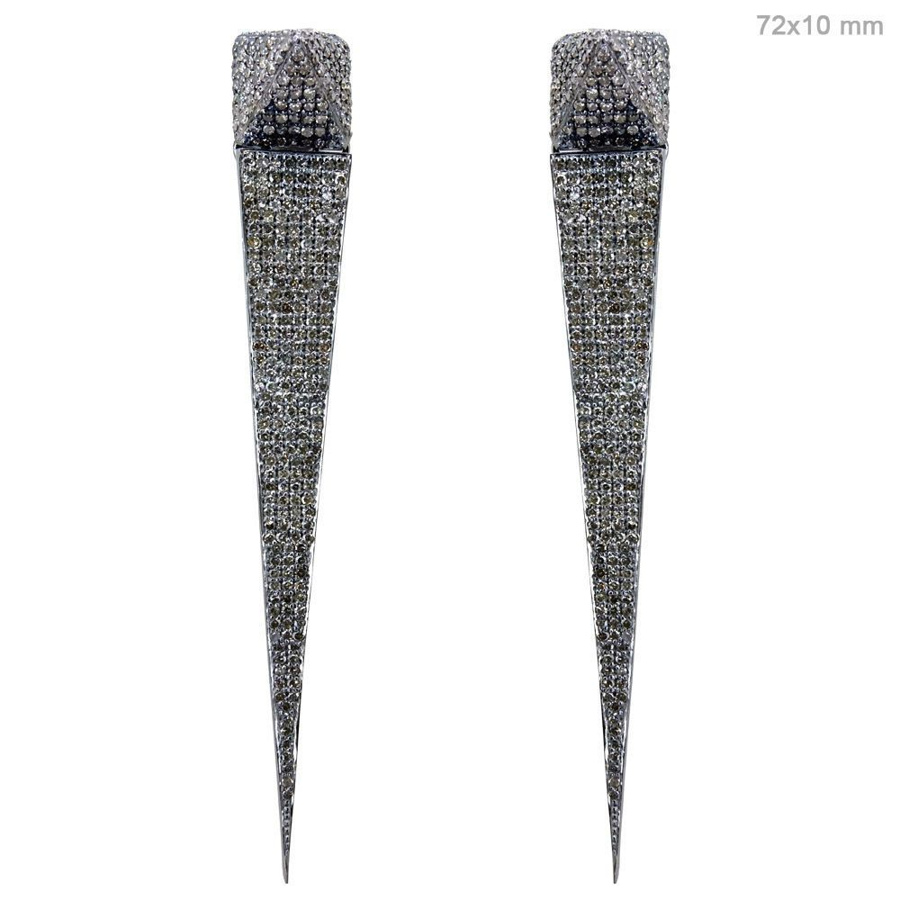 925 Sterling Silver 3.18Ct Pave Diamond Stick Earrings 14K Gold Feminine Jewelry…