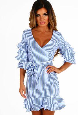 Feeling Frisco Blue and White Stripe Frill Wrap Mini Dress
