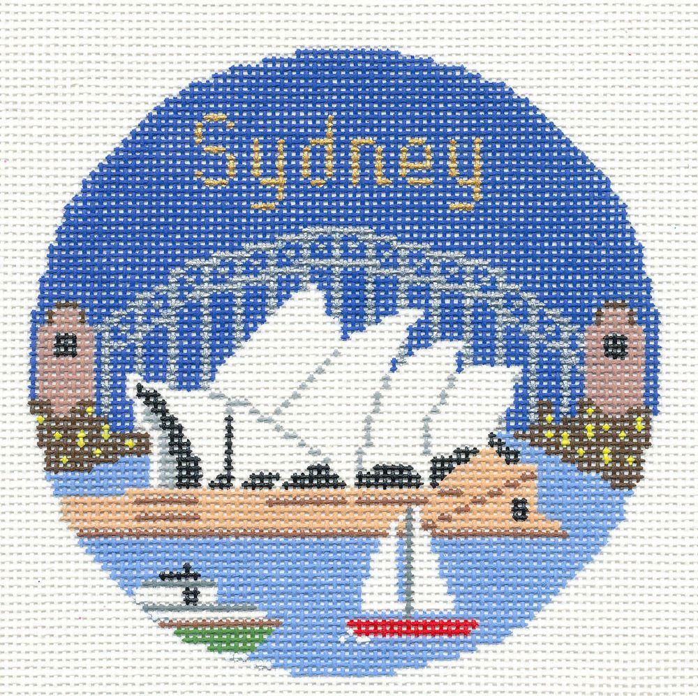Silver Needle Sydney Australia Handpainted 4 25 Needlepoint