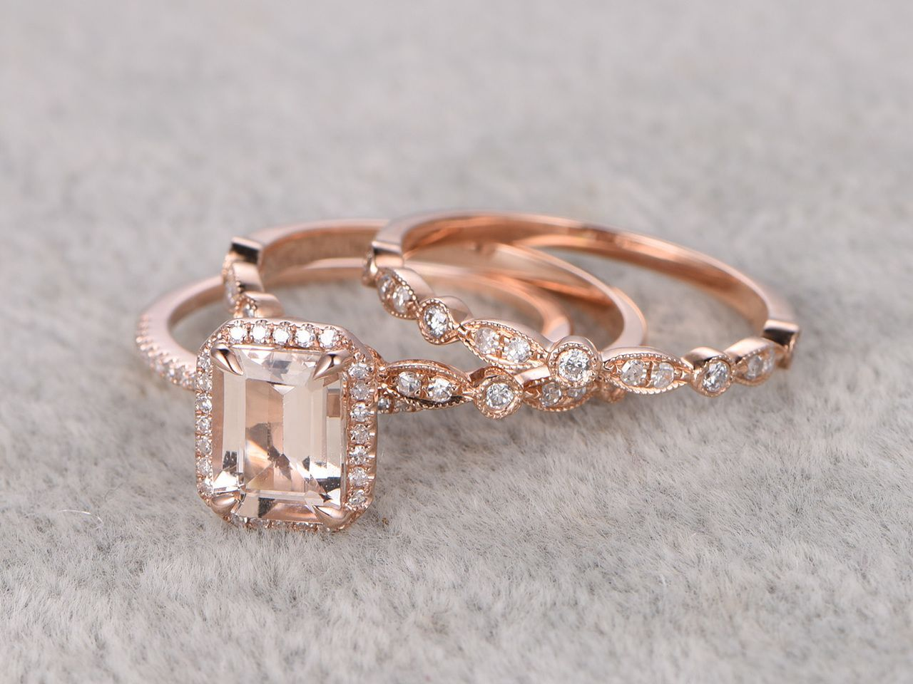 12ct emerald cut morganite wedding set art deco antique diamond bridal ring 14k rose gold - Morganite Wedding Ring Set
