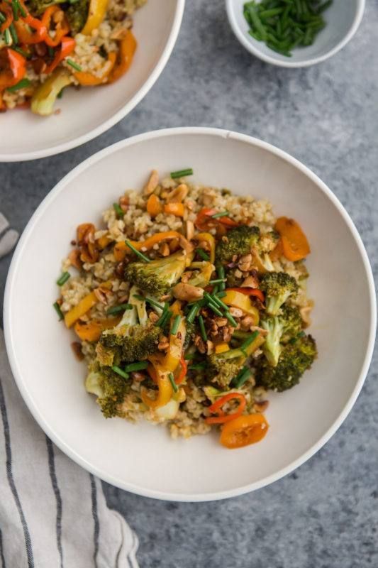 Chili Roasted Broccoli Bowls with Freekeh and Peppers | @naturallyella