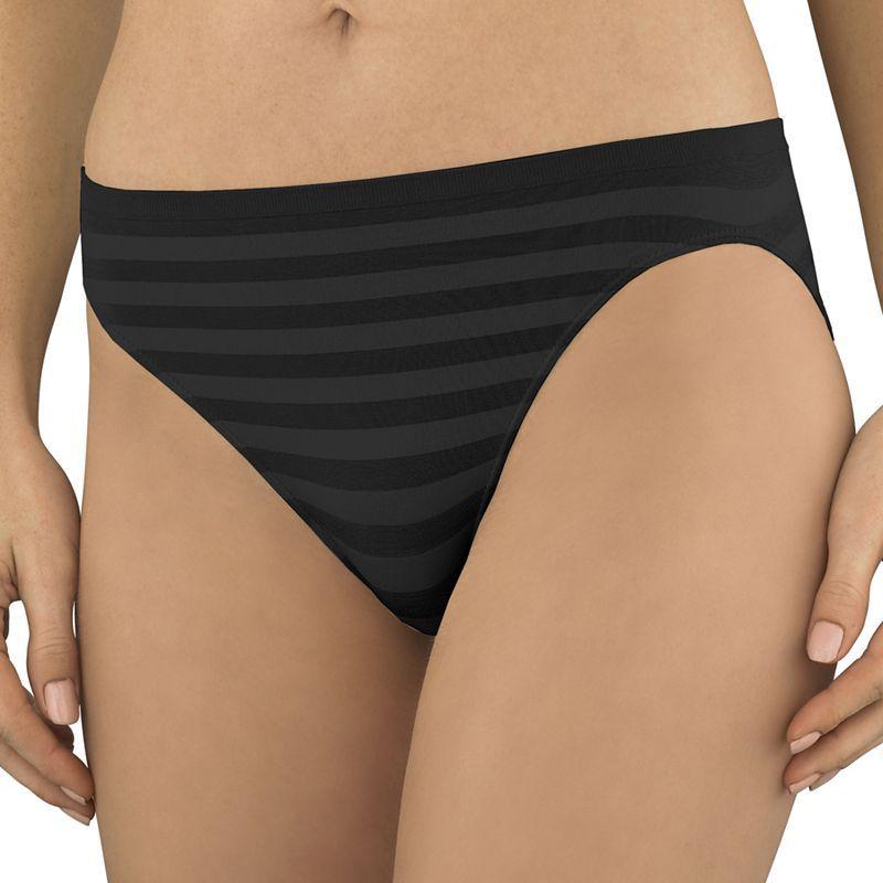 343329109c91 Jockey Comfies Matte & Shine Seamfree Hi-Cut Brief 1306, Women's, Size: 6,  Black