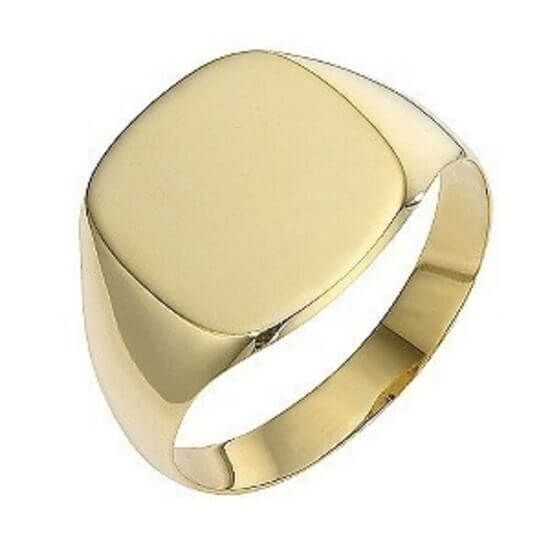 f186d5a0c32fa Mens 9ct yellow Gold Cushion Signet Ring for little Finger 8mm ...