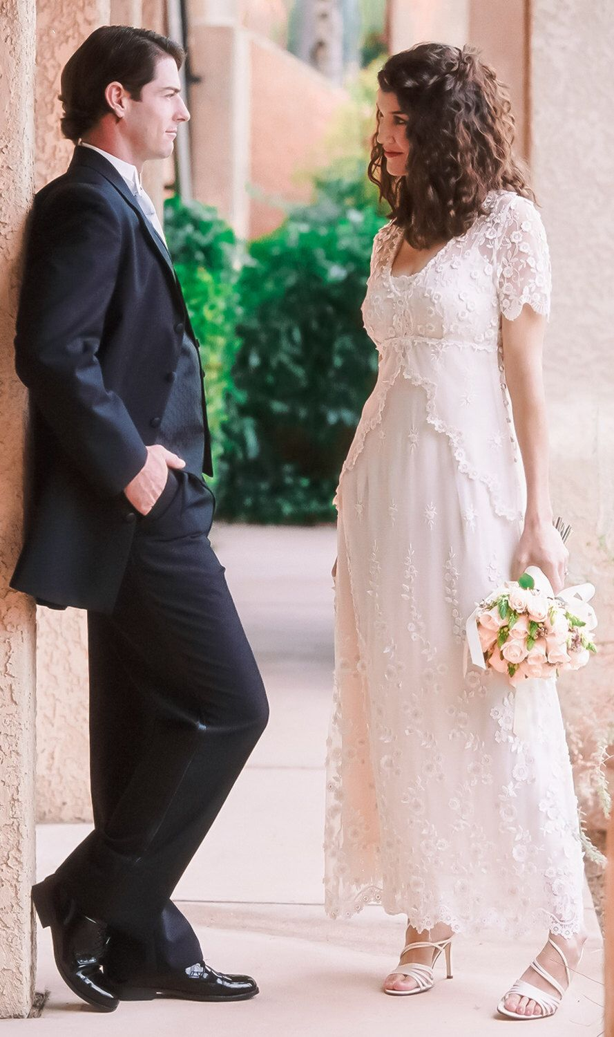 Lace Wedding Dress with embroidered tulle, cap sleeves and empire ...