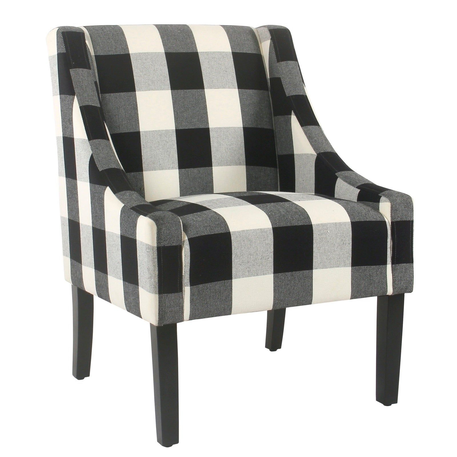 Fabric Upholstered Wooden Accent Chair With Buffalo Plaid Pattern