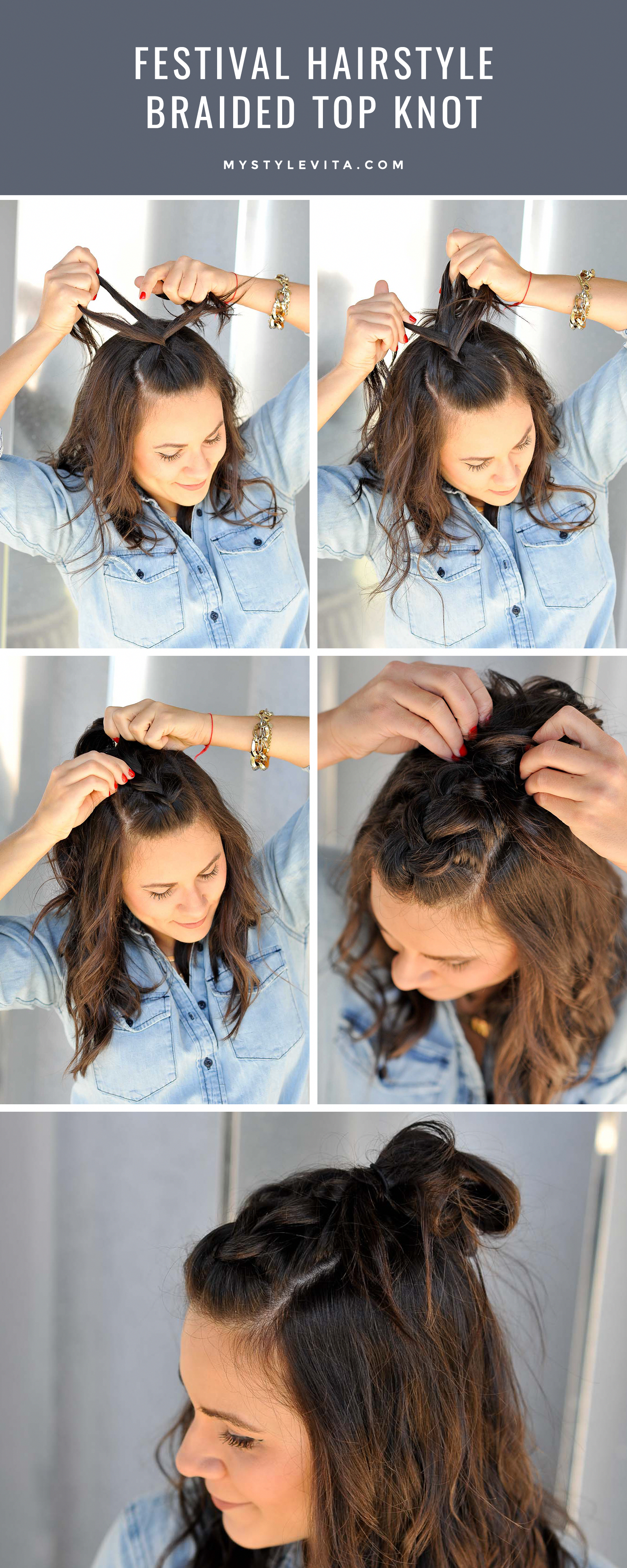 Festival hair style ideas, braided top knot, easy braided hairstyles – My Style …