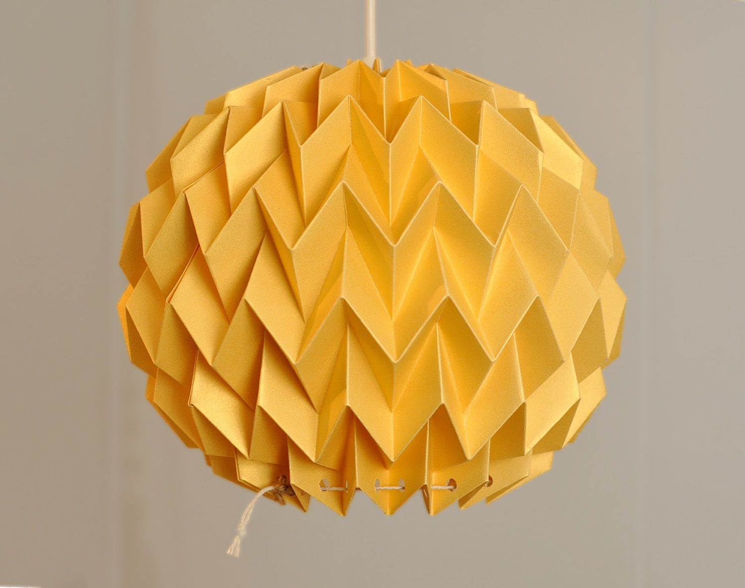 Bubble origami paper lamp shade lantern gold yellow 4000 bubble origami paper lamp shade lantern gold yellow 4000 via etsy aloadofball Images