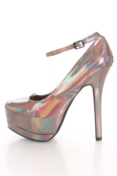 Black Iridescent Finished Faux Leather Platform Heels @ Amiclubwear