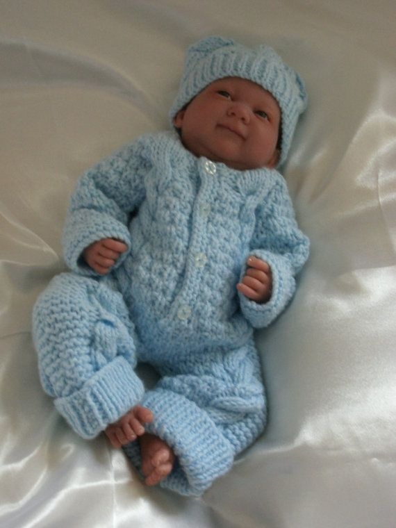 d6d2bb490 Knitted Overalls and Hat Set in Blue For Preemie or Small Newborn ...