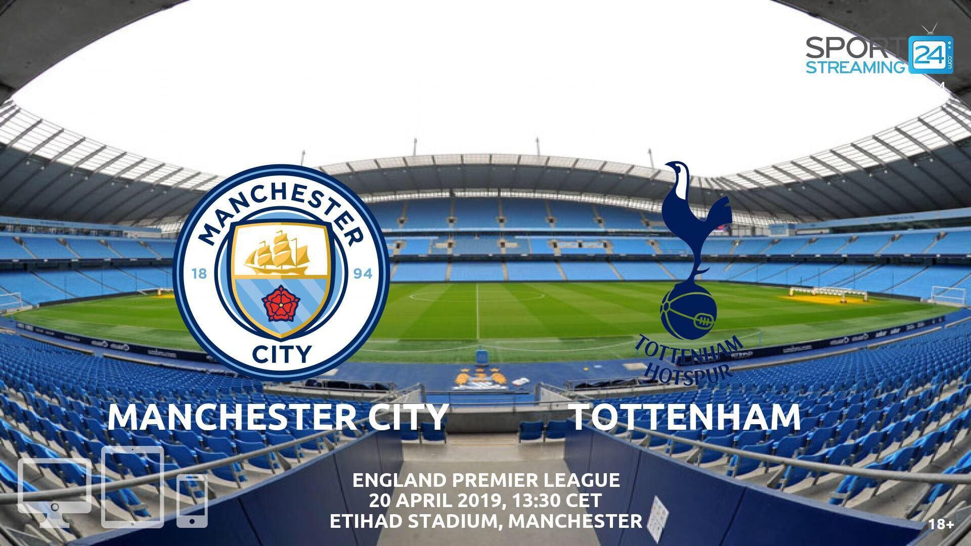 Manchester City v Tottenham Live Stream Betting Odds (With
