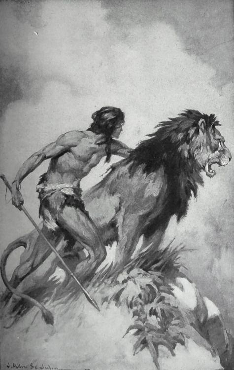 "The man and the great lion trod the paths toward home.  Art by J. Allen St. John for E. R. Burroughs' ""Tarzan and the Golden Lion"" (1923) http://flic.kr/p/rdaep1"