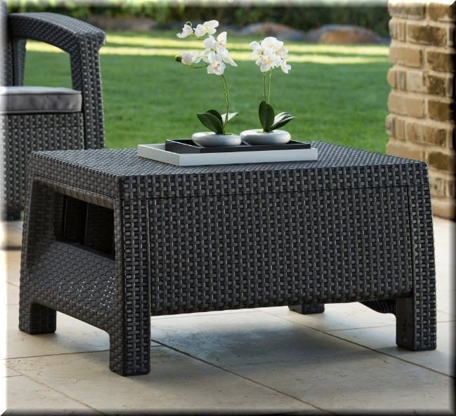 Patio Coffee Table Outdoor Garden Furniture Gray Resin Wicker Pool Furniture  | EBay Part 42