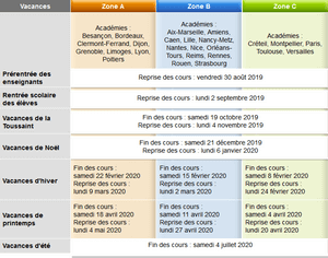 Calendrier Scolaire Mai 2020.Dates Du Calendrier Scolaire 2019 2020 Calendrier