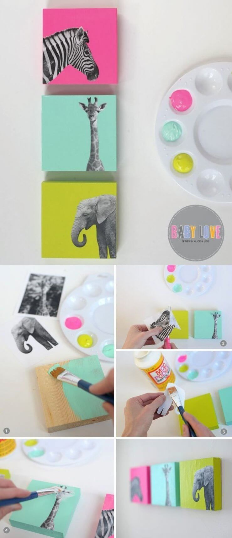 Decoupage Animal Photos On Painted Canvas Draws Cute Diy