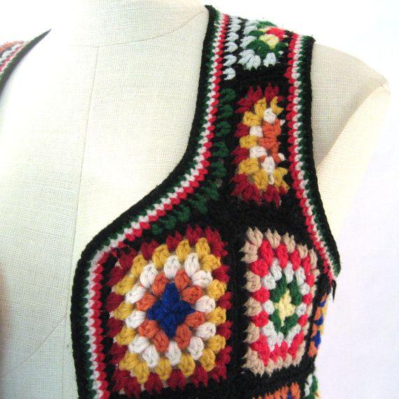Crochet Granny Square Vest Patterns : vintage Granny Square Vest / Crochet Vest / Bohemian ...