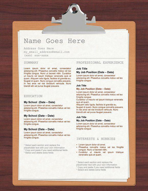 Clipboard Template Resume By Orange Resume On MywpthemesXyz