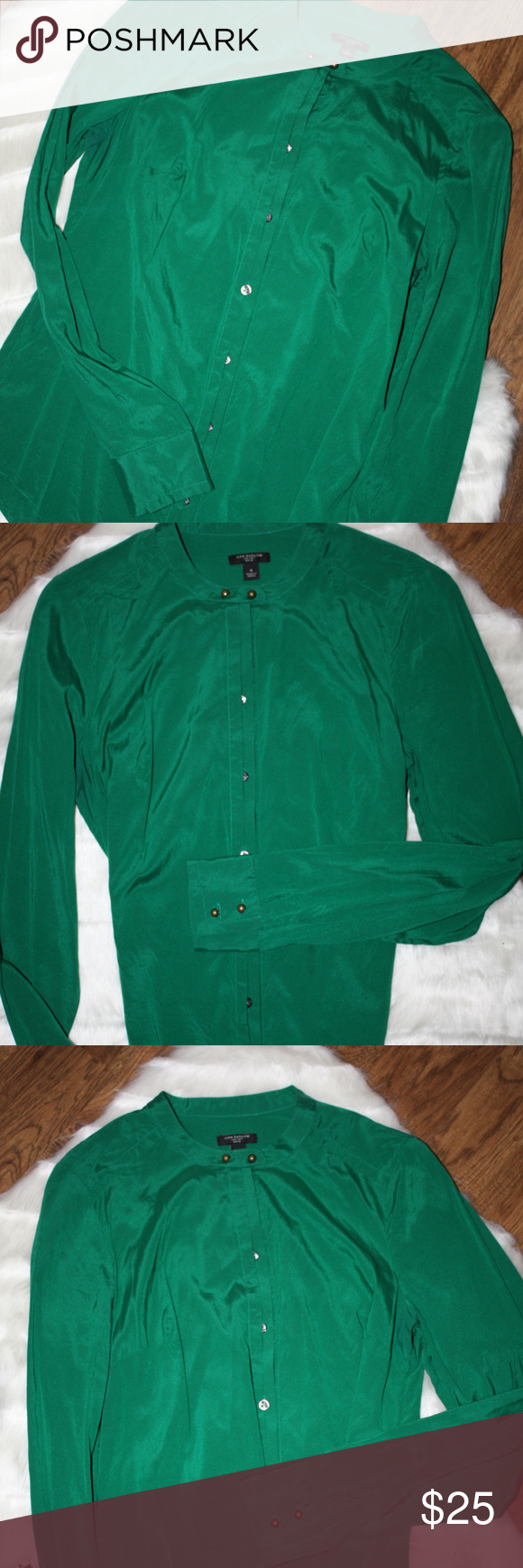 65bff88d283a0 Ann Taylor Emerald Green silk blouse This blouse is in perfect condition.  Gold double button closure at collar. Make me an offer! Ann Taylor Tops  Blouses