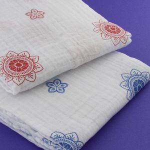 Zen Flowers Red - 1 pack, organic muslin swaddling blanket