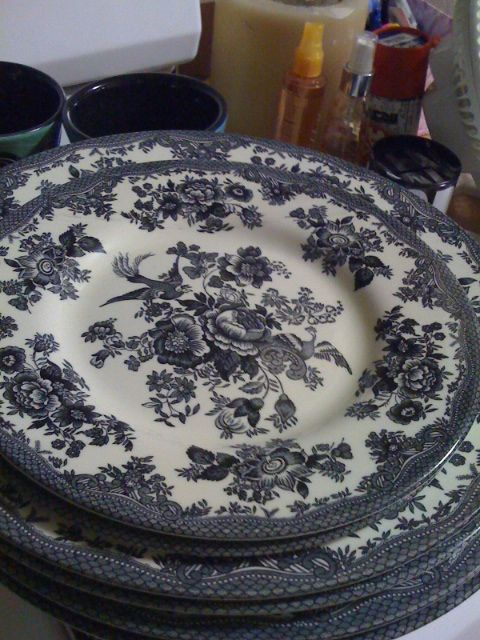 toile dishes oh please please I want these. these would compliment my grandmau0027s china so well. & toile dishes i have a lot of these dishes brand new never used ...