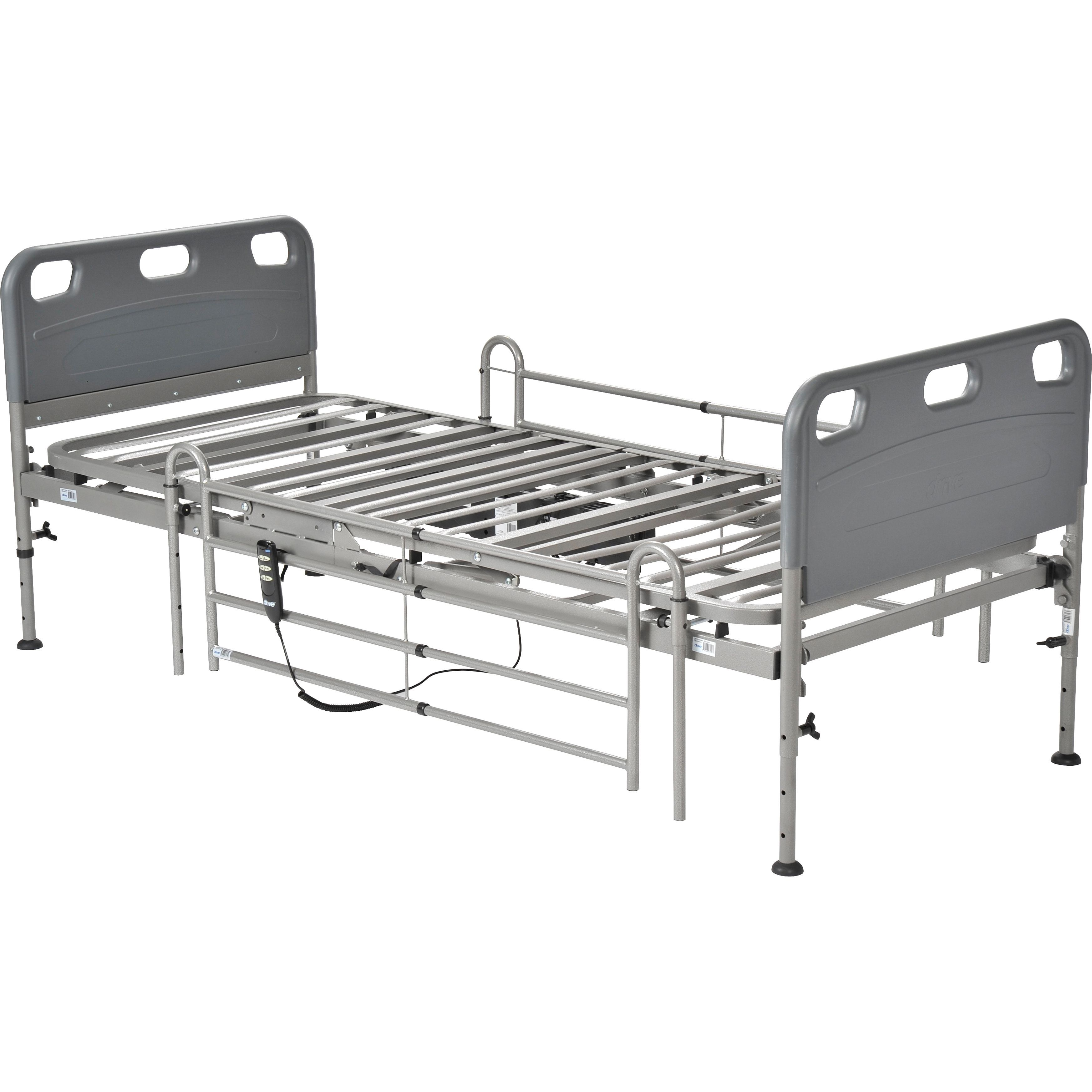 drive medical competitor semi electric bed frame with half rails no mattress silver steel - Electric Bed Frame