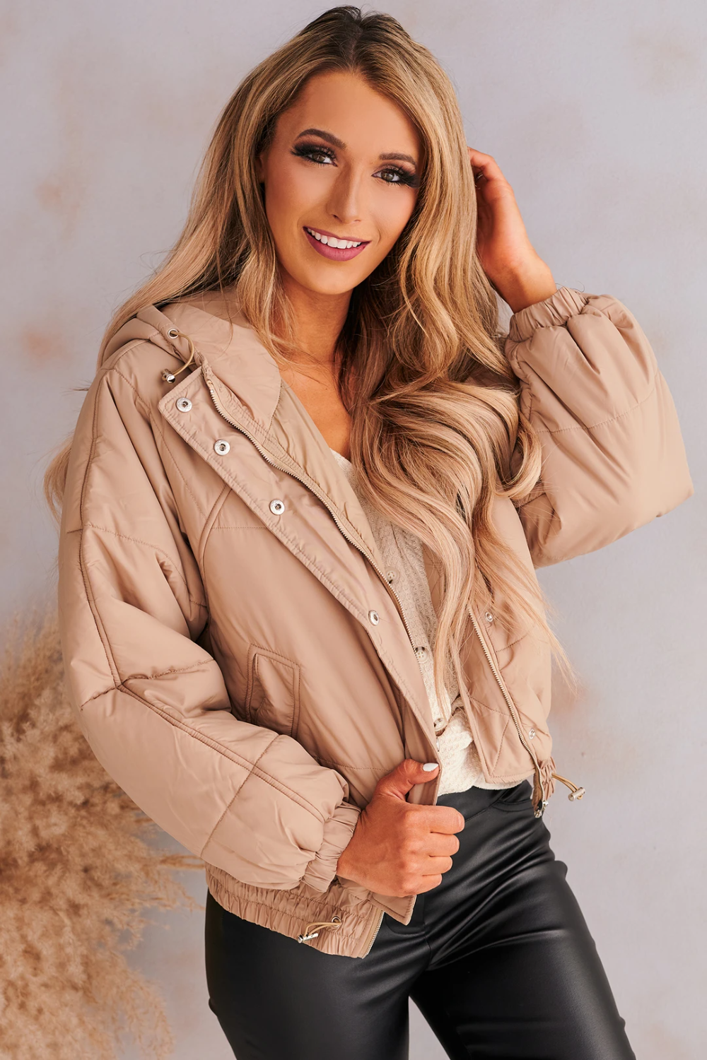 Take Cover Puffer Jacket Taupe In 2020 Puffer Jackets Jackets Fall Wear [ 1500 x 1000 Pixel ]