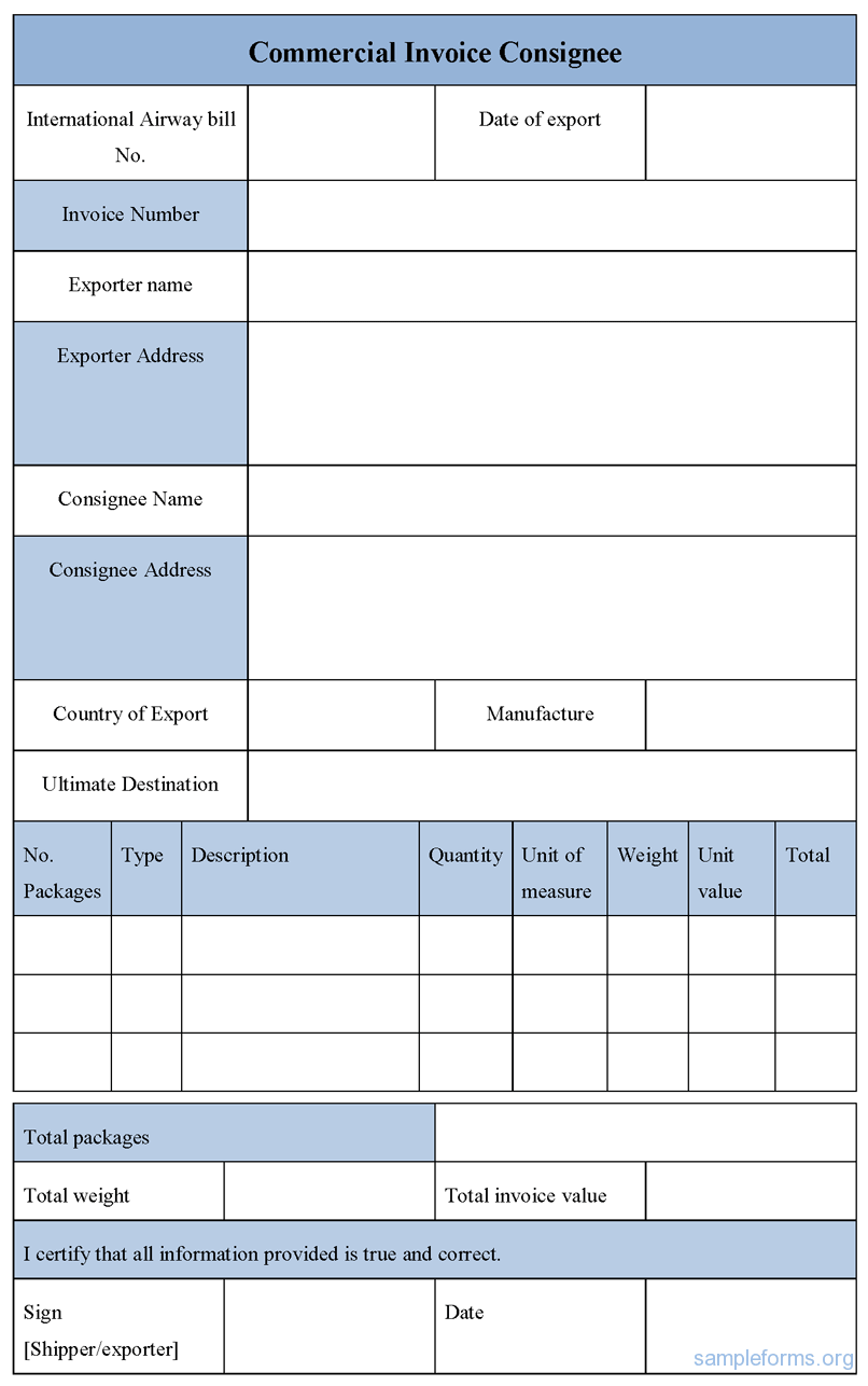 Free Sample Invoice Form Editable Sample Commercial Invoice