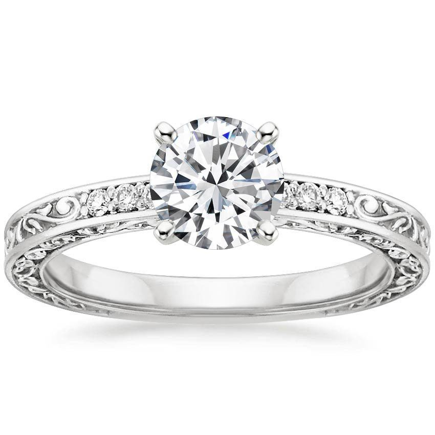 18K White Gold Delicate Antique Scroll Diamond Ring from Brilliant