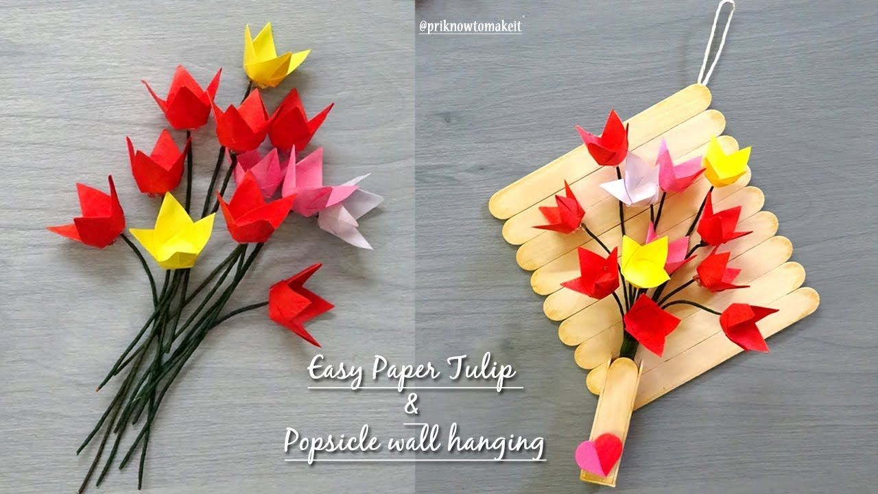 Paper flowers tulip origami flower tutorial popsicle stick wall paper flowers tulip origami flower tutorial popsicle stick wall hanging jeuxipadfo Image collections