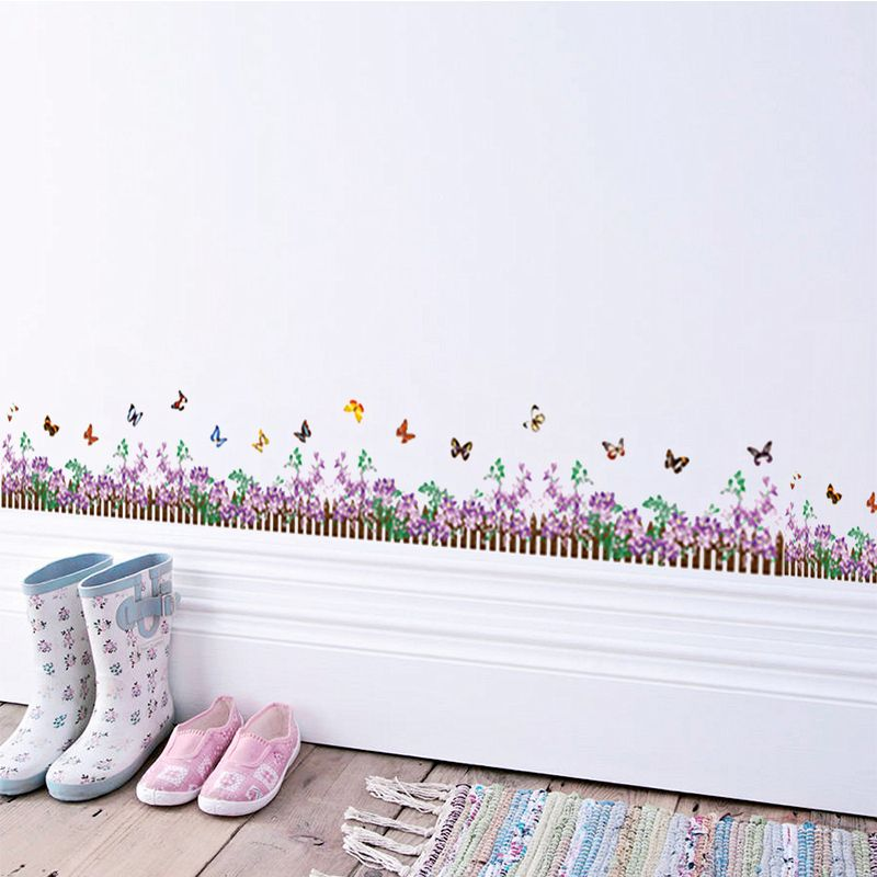>> Click to Buy << lavender flowers fence butterfly wall stickers bedroom baseboard decoration diy plant mural art home decals posters #Affiliate