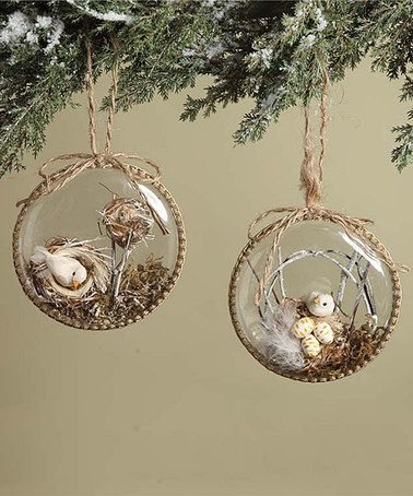 Loving this Woodland Bird Nest Ornaments - Set of Two on #zulily! #zulilyfinds