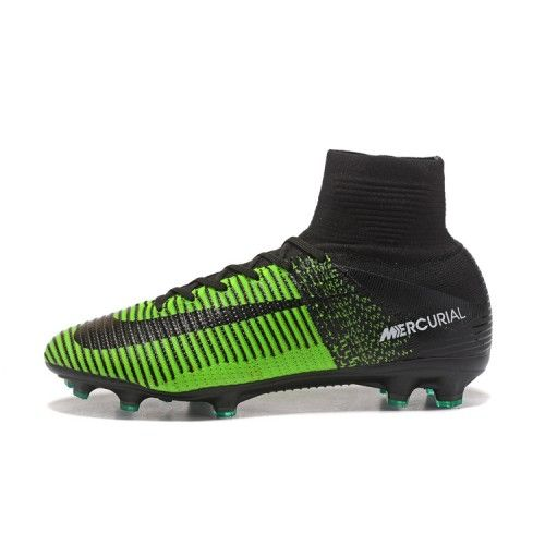 Buy Best 2017 Nike Mercurial Superfly V FG Mens Black Green Football Boots.Discount  Nike Mercurial Football Boots Online For Sale.