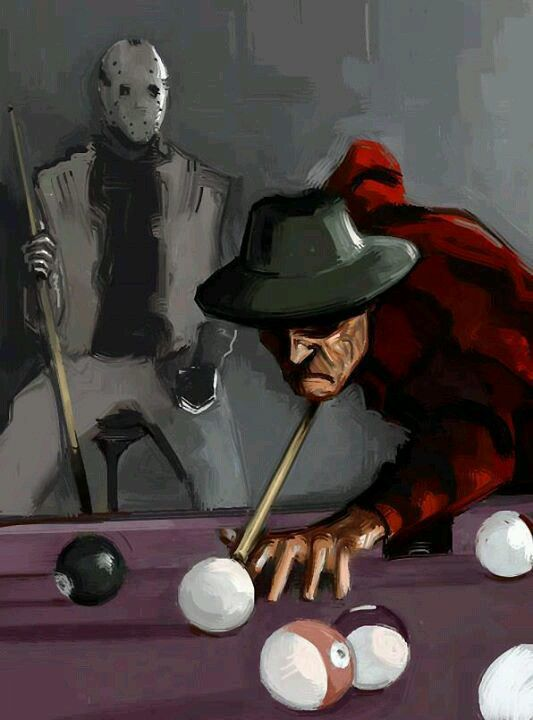 Freddy and Jason playing pool BilliardFactory Wonderful World