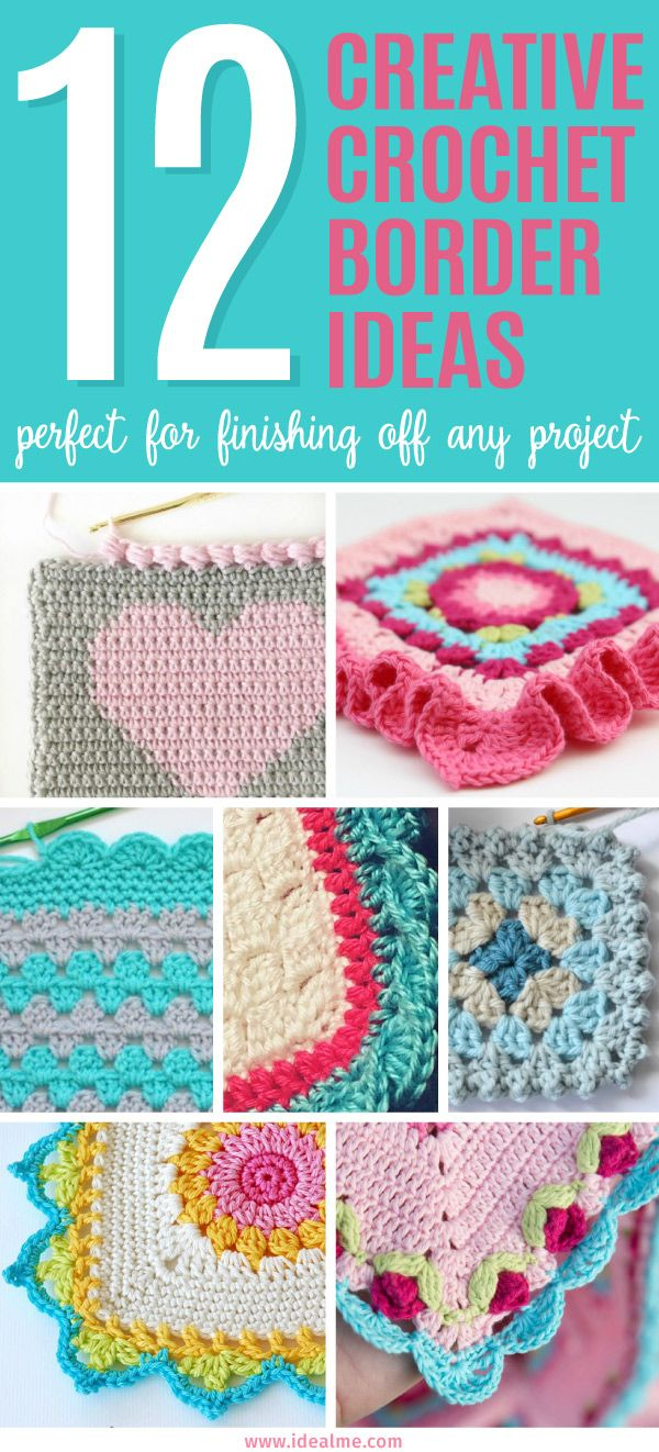 12 Creative Crochet Border Ideas | Häkeln, Häkelideen und Decken