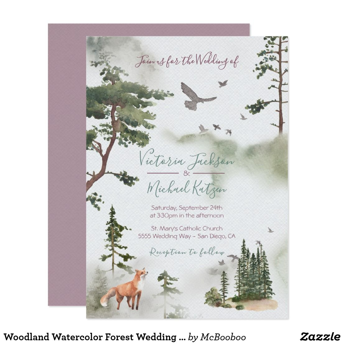 Woodland Watercolor Forest Wedding Invitations Zazzle Com In 2020 Forest Wedding Invitations Forest Wedding Wedding Invitations