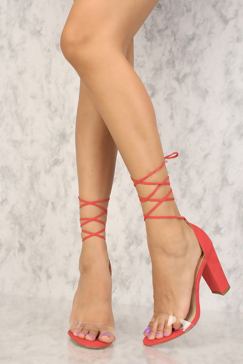 68cb0173006 Sexy Red Clear Strap Open Toe Single Sole Chunky Heels
