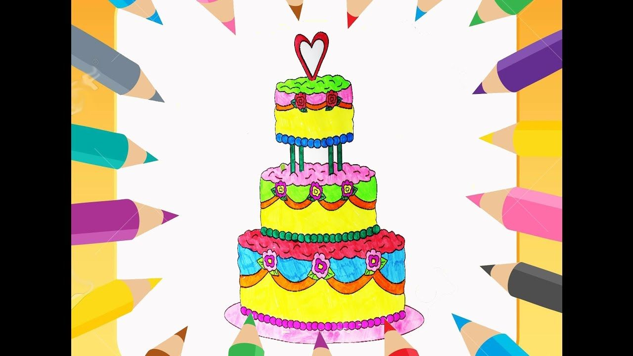 How to Draw Birthday Cake, Cupcake and Coloring Pages for Kids ...