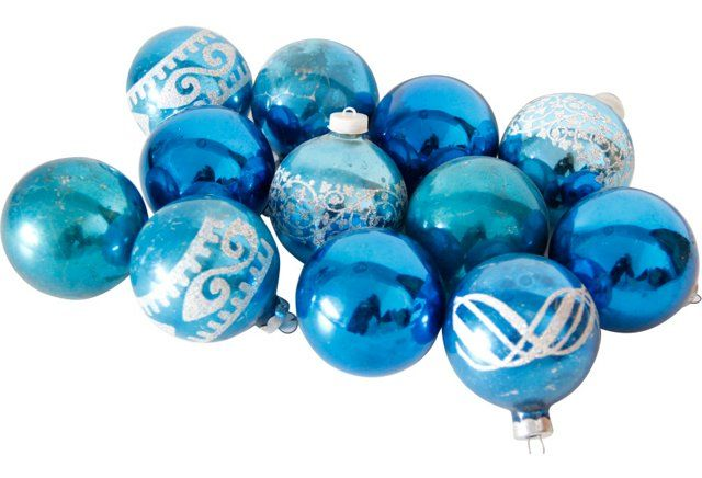Assorted Vintage Blue Glass Ornaments, S/12