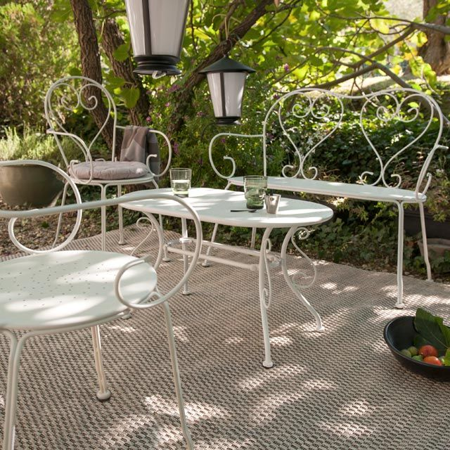 Banc En Metal Flores Gris Castorama Table De Jardin Patio Vintage Salon De Jardin