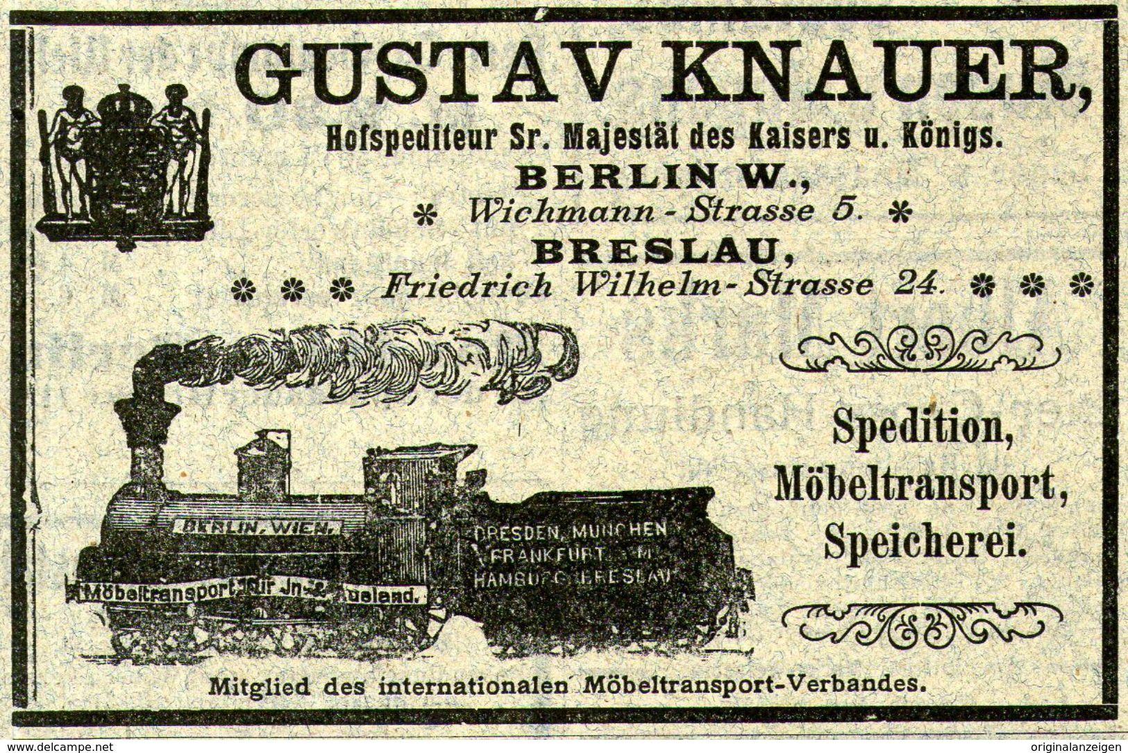 Original Werbung Anzeige 1903 Spedition Gustav Knauer Motiv Lokomotive Berlin Ca 100 X 60 Mm Zu Verkaufen Auf Delcampe Vecchie Carte