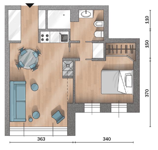 Un bilocale di 37 mq con colori soft tiny house kitchen bathroom ideas planos de pisos - Decorazione archi in casa ...