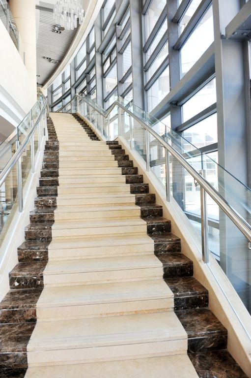 Best Maroon Emperador And Crema Marfil Marble Staircase 400 x 300