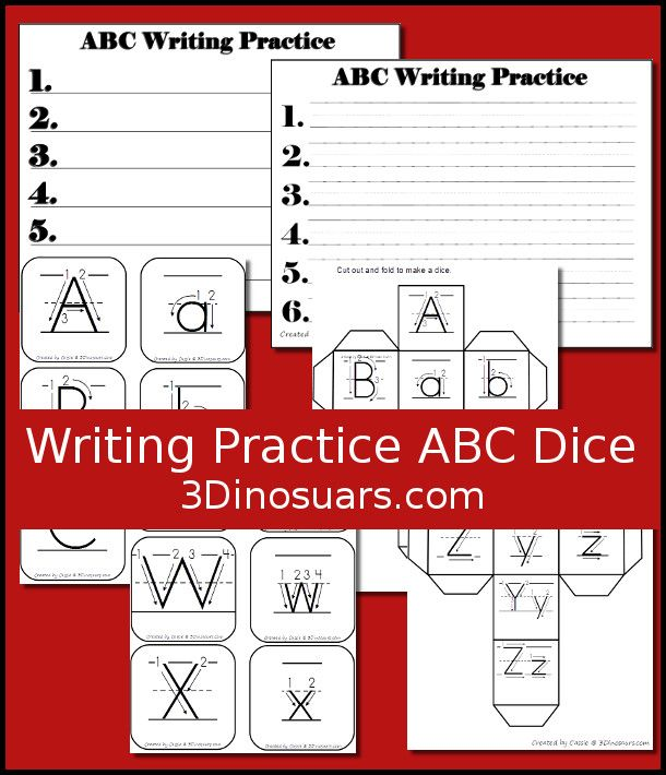 Free Writing Practice ABC Dice - a fun dice game to review your cursive letters - 3Dinosaurs.com