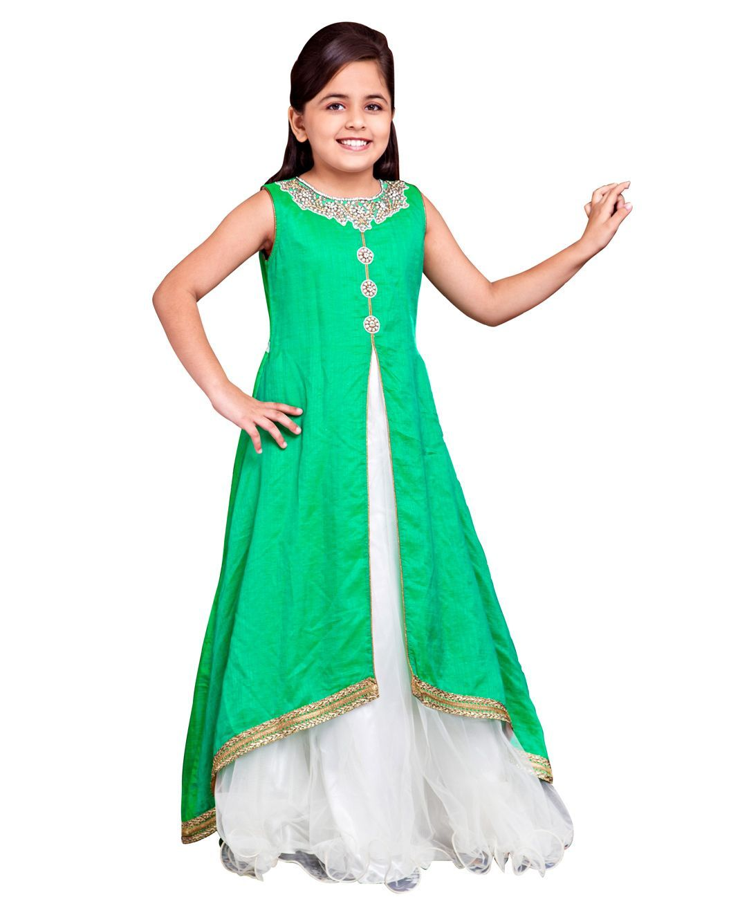 fd1c6169fc Buy Betty By Tiny Kingdom Ethnic Evening Gown Green for Girls (8-9 Years