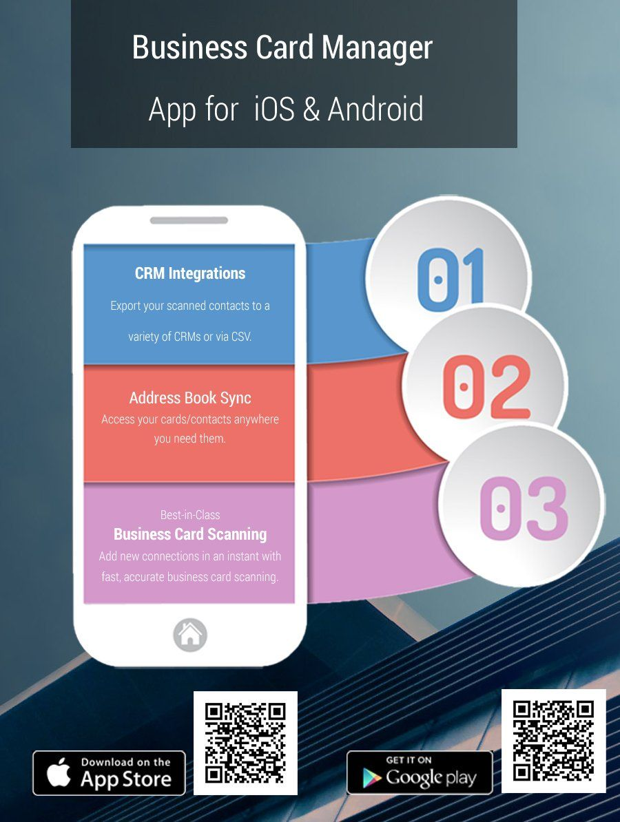 Business Card Manager App For Ios Android Business Card App Business Card Scanner App