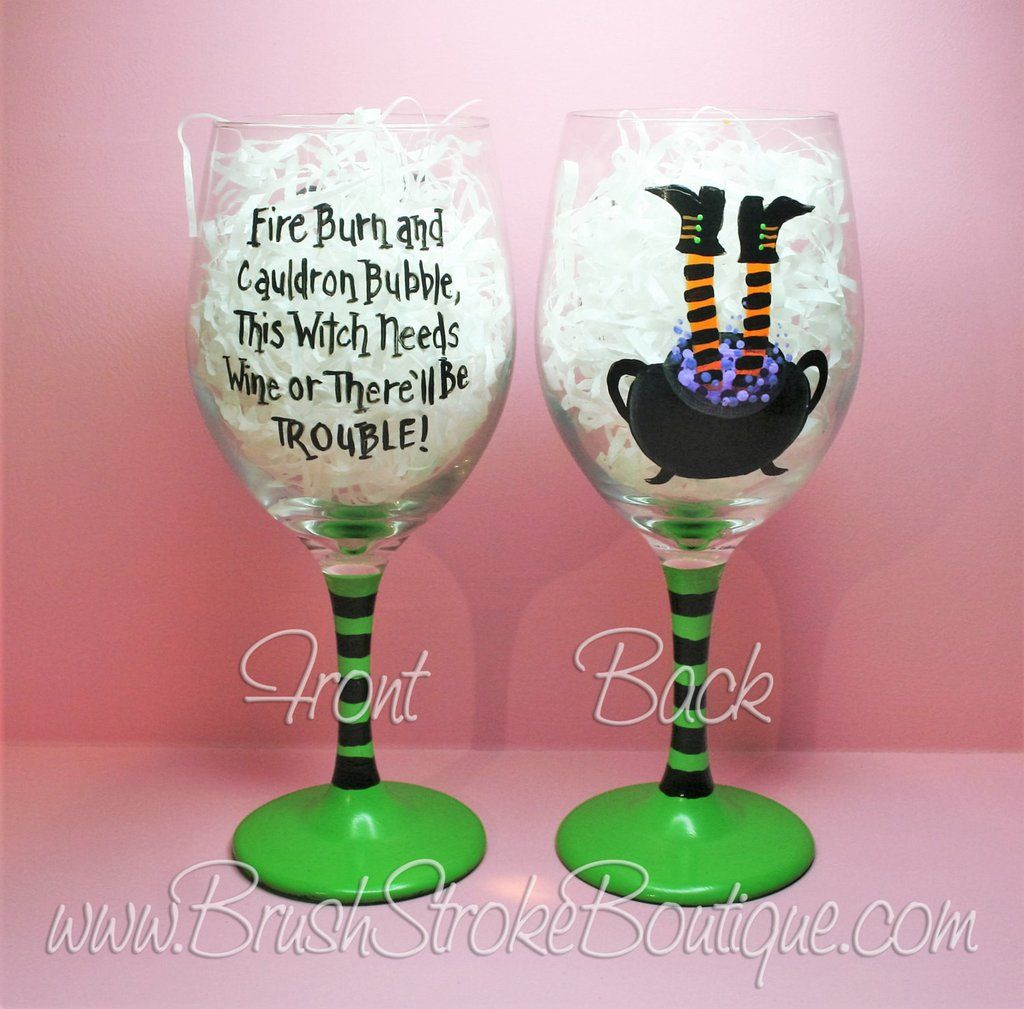Hand Painted Wine Glass Cauldron Trouble Orange Original Designs By Cathy Kraemer Hand Painted Wine Glass Custom Wine Glasses Diy Wine Glasses