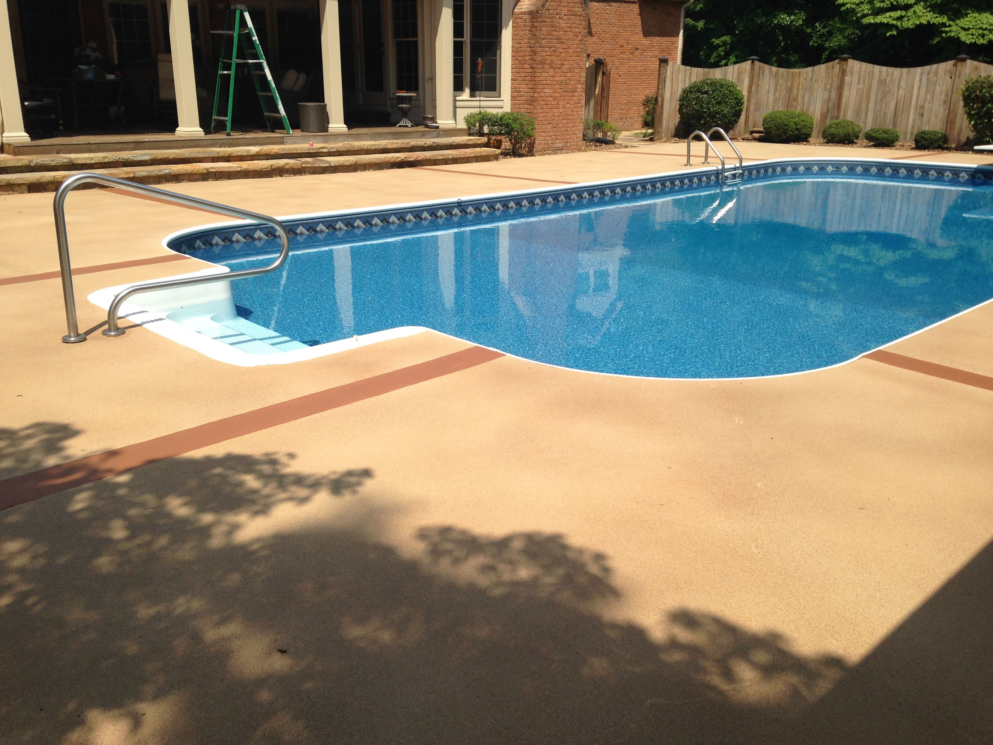 Brick Pool Deck Pool Deck With Base Coat Of Tan And A Distressed Finish In Natural