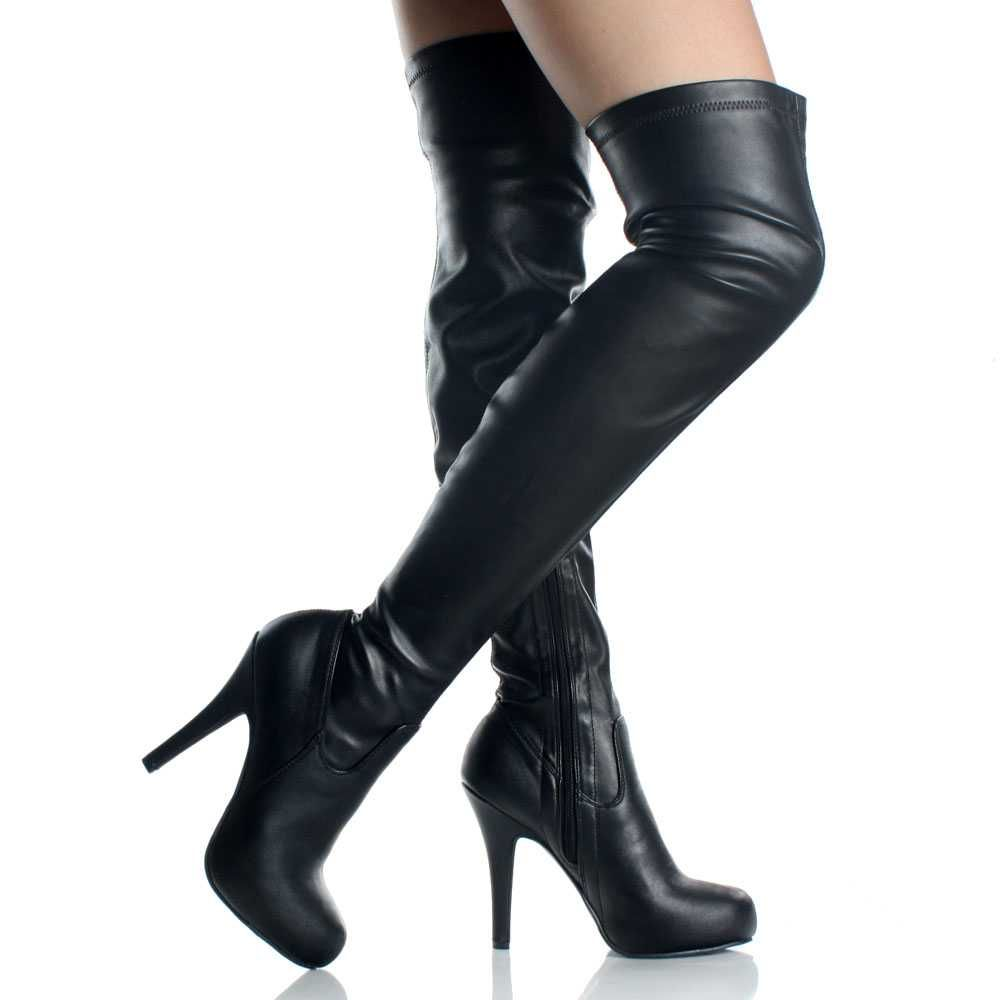Black Thigh High Heel Boots - Cr Boot