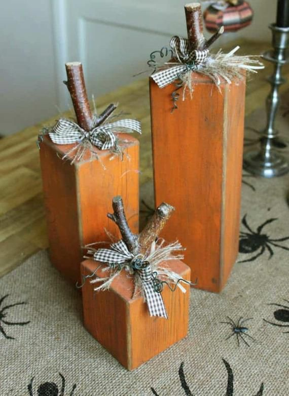 Set of 3 pumpkin blocks, wood blocks, hand crafted Halloween decor, fall decorations #falldecor