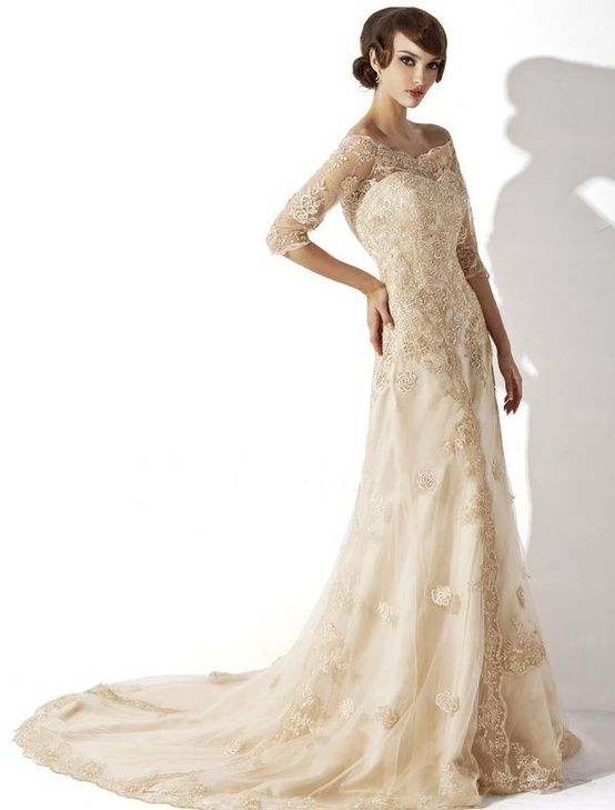 Modest ivory lace wedding dress with 3/4 sleeves off the shoulder ...