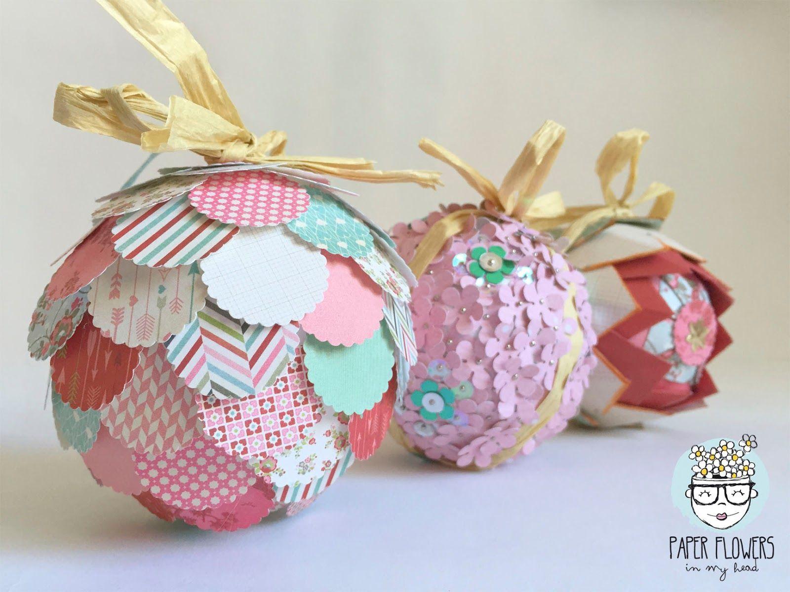 paper flowers in my head ideas para decorar bolas de navidad con papel de scrapbooking - Como Decorar Una Bola De Navidad